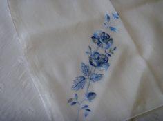 White Cotton Handkerchief Crocheted Blue by EauPleineVintage