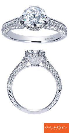 The one you love deserves their dream engagement ring. When you're ready to pop the question make sure you hand them this elegant Victorian 14k White Gold Round Diamond Straight Engagement Ring. Discover this perfect engagement ring or customize your own at Gabriel & Co.