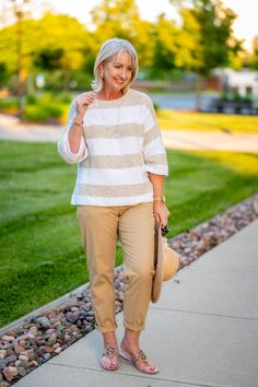 Casual Summer Outfit in Soft Neutrals - wearing cropped chinos for summer - summer sweater for women - summer outfits in neutrals Summer Sweaters, Sweaters For Women, Skirt Fashion, Fashion Outfits, Neutral Dress, Cropped Chinos, Summer Outfits Women, Fashion Over 50, Classy Women