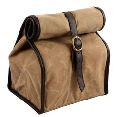 Fit n Fresh_Men's Shop_Classic Insulated Lunch Bag_roll top (Light Brown)_$17.99_wax canvas body, faux leather trim_with ice pack_interior mesh pocket, PEVA liner