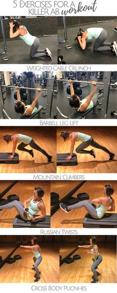 5 Exercises For A Killer Ab Workout! Bikini season is coming, ab workouts are a must! These ab exercises will get you ready for summer!