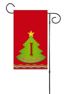 Christmas Tree Initial Garden Flag