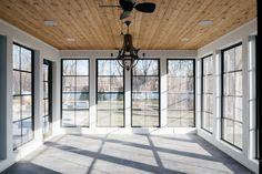 Sunroom Windows, Ceiling Windows, Four Seasons Room, Three Season Room, Sunroom Addition, Sunroom Decorating, Black Windows, Cottage, Home Upgrades
