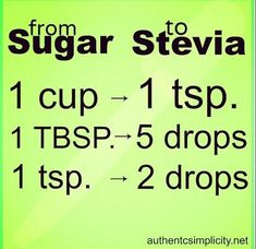 Substitute Stevia for Sugar - Replacing sugar with stevia in most recipes is really as simple as shown in this chart. When baking use a combination of erythritol+stevia. You can grow stevia too! Stevia Recipes, Diabetic Recipes, Low Carb Recipes, Diet Recipes, Cooking Recipes, Cooking Tips, Easy Diabetic Desserts, Healthy Baking Substitutes, Baking Substitutions