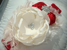 Vacaciones lujo Glamour diadema flor roja y marfil, venda del bebé, apoyo de…