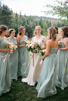 Sage green bridesmaid dresses, flow dresses