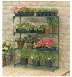 Greenhouse Shelves Plants Garage Shed Shelving Green Steel Tubular 4 Shelves NEW #Gardman