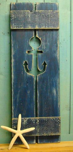 One Navy Blue Nautical Weathered Anchor Cut Out by CastawaysHall, $59.00