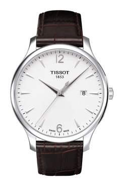 Tissot Tradition Men's Quartz Silver Dial Watch with Brown Leather Strap