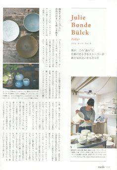 Danish ceramicist Julie Bonde featured in Japanese magazine Ecocolo.