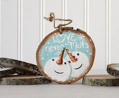 Large Snowman Ornament Wood Snowman Art Christmas Tree Ornament Christmas Gift Love Never Melts 5th Anniversary Gift Wedding Gift Couple