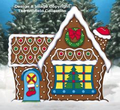 Giant Gingerbread House Woodcraft Pattern -- maybe have santa & elves standing on something like this or some presents?