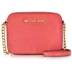 Michael Kors Handbags Jet Set Travel Small Saffiano Leather Crossbody (8.435 RUB) ❤ liked on Polyvore