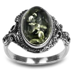 Vintage Fashion and Lifestyle Sterling Silver Green Yellow Amber Oval Ring