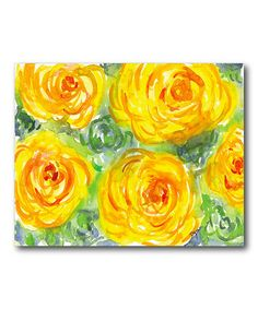 Look at this #zulilyfind! Yellow Watercolor Flower Canvas Gallery-Wrapped Canvas #zulilyfinds