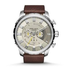 Stronghold Blending light brown leather with a stainless steel case, Diesel's Stronghold makes an impactful-yet-versatile statement.