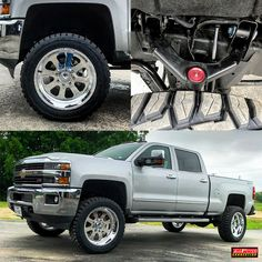 """A closer look ....This 2017 Duramax came out PERFECT!! With a 3"""" Zone Offroad Products UCA kit, 22x10 American Force Wheels Recon wheels wrapped in 35"""" Toyo Tires RT tires"""