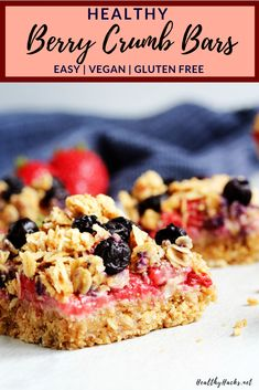 Red White and Blueberry Crumb Bars Healthy Fruit Desserts, Healthy Cookies, Healthy Snacks For Kids, Healthy Eats, Healthy Recipes, Gluten Free Baking, Gluten Free Desserts, Dairy Free Recipes, Vegan Bar