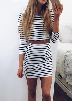 Stripe Half Sleeve Top & Bodycon Skirt|Disheefashion