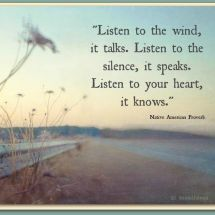 Native American Proverb: Listen to the wind, it talks. Listen to the silence, it speaks. Listen to your heart, it knows. Native American Proverb, Native American Wisdom, African Proverb, American Symbols, American Indians, Words Quotes, Me Quotes, Sayings, Quotes Images
