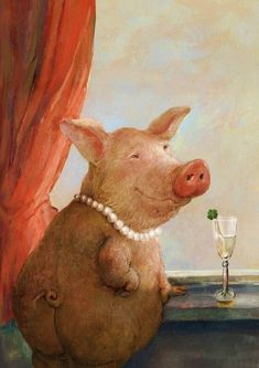 Belle of the village - rudi hurzlmeier This Little Piggy, Little Pigs, Illustrations, Illustration Art, Sketch Manga, Funny Animals, Cute Animals, Pig Drawing, Pig Art
