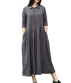 YUHEYUHE Womens Casual Loose Spring Fall Clothing Long Sleeves Midi Cotton Linen Shirt Dresses >>> To view further for this item, visit the image link. (This is an affiliate link) Dress Shirts For Women, Clothes For Women, Cotton Dresses, Loose Dresses, Dress Long, Best Casual Dresses, Linen Shirt Dress, Maternity Wear, Fall Outfits