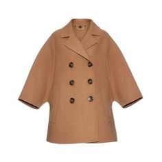 Burberry Prorsum Double-breasted wool coat ($2,842) ❤ liked on Polyvore featuring outerwear, coats, camel, flared wool coat, burberry coat, flare coat, wool cape coat and double breasted wool coat