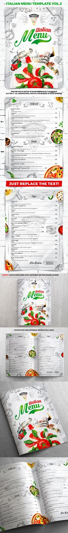 Italian Menu Template vol.3 — Photoshop PSD #pizza flyer #coffee • Download ➝ https://graphicriver.net/item/italian-menu-template-vol3/20313921?ref=pxcr