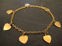 Vintage Gold Heart Bracelet by WhiteMagpieJewellery on Etsy, £7.00