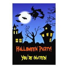 Halloween Party Invite scary flying witch - Halloween happyhalloween festival party holiday