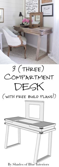 How to make a rustic modern three compartment desk including free downloadable build plans. The desk has 3 separate lids with mirrors attached underneath.