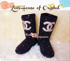 CHRISTMAS Sales WINTER Bling Tall Black Pearls UGG Inspired SheepSkin Wool BOOTS w Czech or Swarovski crystals made Chanel - ZoeCrystal