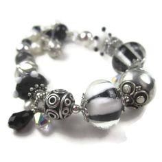 Chunky Bracelet Bali Silver Black & White Lampwork Glass