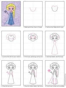 How to Draw Elsa · Art Projects for Kids - How to draw Elsa, from Frozen. Art Projects for Kids Best Picture For pro - Art Drawings For Kids, Disney Drawings, Drawing For Kids, Cartoon Drawings, Art For Kids, Elsa Drawing Easy, Learn Drawing, Drawing Drawing, Drawing Lessons