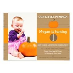 Girls Our Little Pumpkin Birthday Invitation