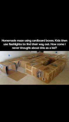 Homemade Maze Using Cardboard Boxes