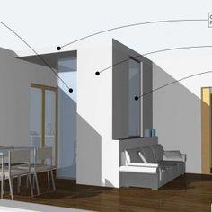 Disegno di soggiorno e angolo cottura con pilastro | casa ...