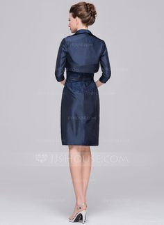 Sheath/Column Scoop Neck Knee-Length Taffeta Mother of the Bride Dress With Appliques Lace (008058403) - JJsHouse