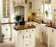 white and brown shabby chic kitchen island | design | interior decor | ideas