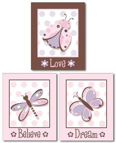 Set of 3 art prints for girls Ladybug Butterfly by smileywalls, $18.90