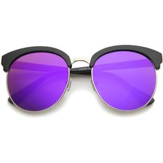 Oversize round horned rim half frame mirror lens sunglasses a190 featuring polyvore, women's fashion, accessories, eyewear, sunglasses, glasses, purple, oversized round sunglasses, round rim glasses, mirror sunglasses, round glasses and oversized round glasses