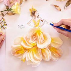 """""""After women flowers are the most divine creations. Here's another floral couture gown created using a three-toned david austin rose! I hope you like it!) by grace_ciao Arte Fashion, Floral Fashion, Paper Fashion, Art Floral, Flower Petals, Flower Art, Flower Girls, Grace Ciao, Floral Illustrations"""