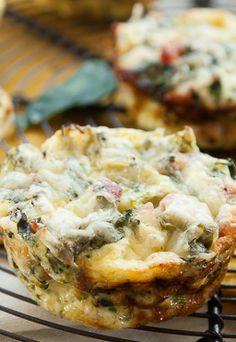 Mini Crustless Kale and Broccoli Quiches
