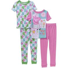 Peppa Pig Toddler Girls' Cotton Tight Fit Short Sleeve Pajama 4-Piece Set-Online Exclusive