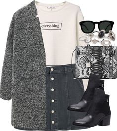Untitled #3428 by peachv featuring fur-lined coats MANGO long sleeve shirt, 51 AUD / MANGO fur lined coat, 175 AUD / MANGO denim skirt, 27 AUD / Forever 21 ankle boots, 76 AUD / Yves Saint Laurent bag / New Look stone jewelry, 16 AUD / Quay...