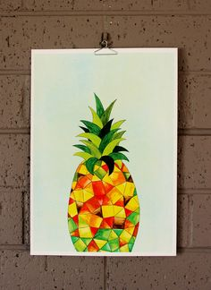 Pineapple Fruit Illustration Art Print. $10.00, via Etsy.