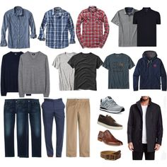 minimalistic capsule wardrobe men, shirts and jumpers, t-shirts and a hoodie, trousers and jeans, shoes and accessories Men's Casual Wardrobe, Capsule Wardrobe Casual, Mens Wardrobe Essentials, Men's Wardrobe, Professional Wardrobe, Capsule Outfits, Work Outfits, Business Casual Men, Men Casual