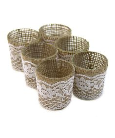 wouldn't these be super easy and cheap to replicate? Dollar store glass votives, burlap and lace...easy peasy! Another great find on #zulily! Lace & Burlap Glass Votive Candle Holder - Set of Six #zulilyfinds