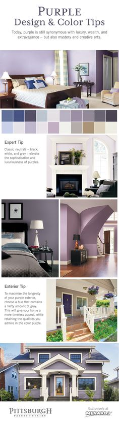 Purple Color & Design Inspiration! Purple is a color family that is exceptionally unique and compelling when used to paint interiors and exteriors. Perhaps it is the tranquility it borrows from blue and the sheer energy it receives from red that creates a combination as captivating as it is mysterious.