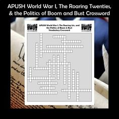 APUSH World War I & The Roaring 20s Crossword PuzzleChapter 29: Wilsonian Progressivism in Peace and WarChapter 30: American Life in the Roaring TwentiesChapter 31: The Politics of Boom and BustThis crossword puzzle features 21 people, events, and terms from Chapters 29-31 of the very popular Am... Social Studies Activities, Learning Activities, Teaching Resources, Ap Test, Test Prep, School Grades, School Levels, American Life, American History